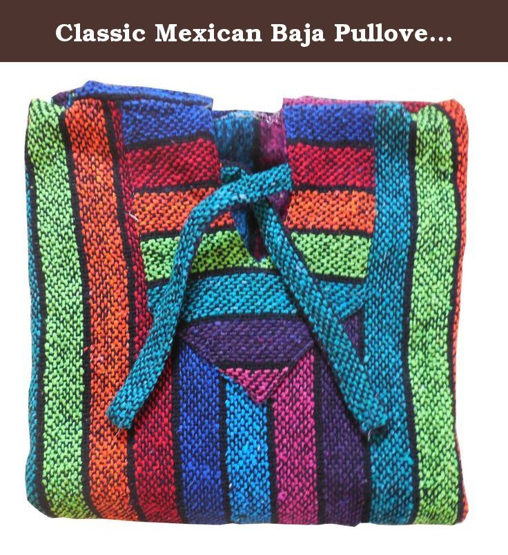Classic Mexican Baja Pullover Hoodie Multicoloured Rainbow Large by Onsale Merchandise. Our Jergas or Bajas are durable, warm and soft outwear that are practical for cool or cold weather. Casual and comfortable, the Jerga is great for everyday leisurely wear. Whether over your T-shirt on cool summer nights or over multiple layers, the Jerga is a great choice for look, comfort and warmth. It features a front pocket and a hood. Easily tug at the strings to adjust the hood for the optimal…