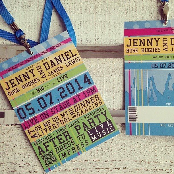 Personalised Wedding Invitations Festival Lanyard Boho Invites Dance Ticket