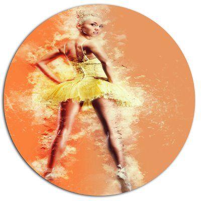 "DesignArt 'Beautiful Ballerina in Yellow Tutu' Photographic Print on Metal Size: 23"" H x 23"" W x 1"" D"