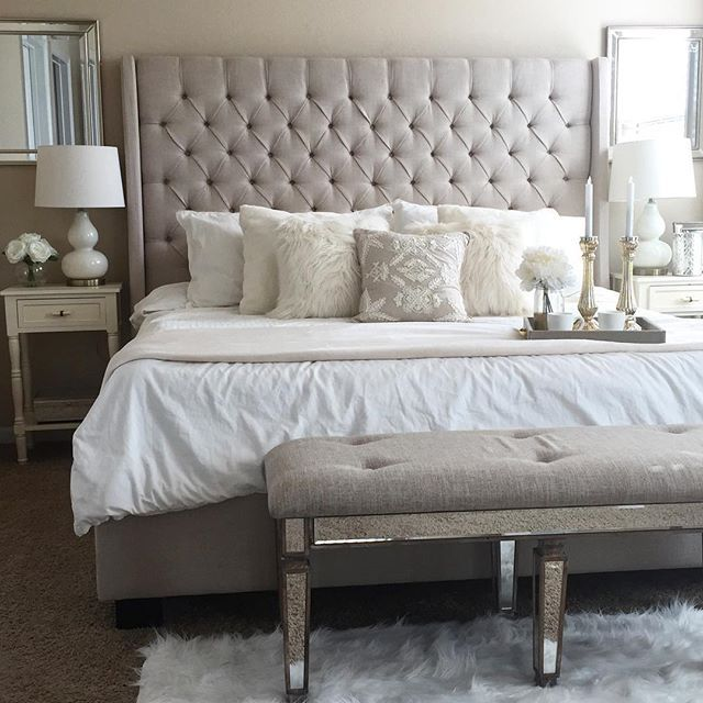 Pillows, headboard, lamps