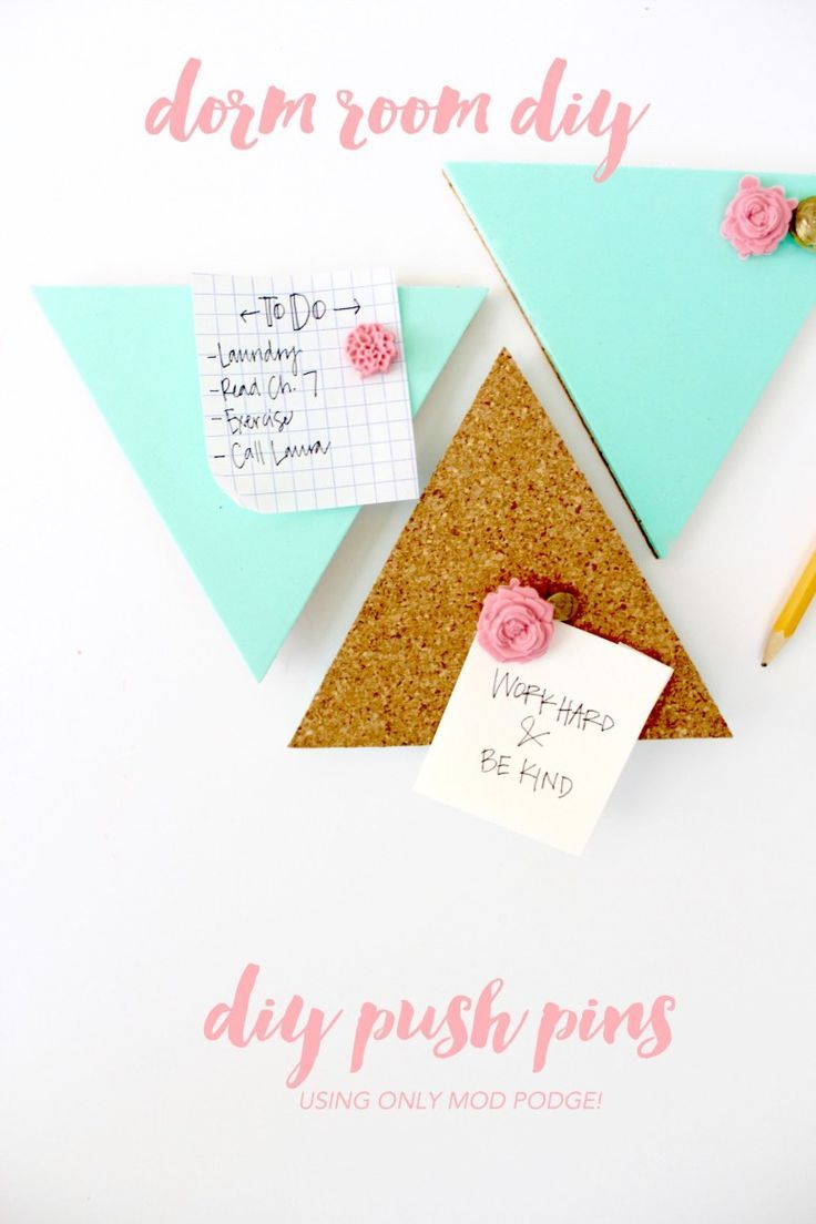 DIY push pins made out of mod Podge! Perfect for a dorm room or cubicle - easy craft under $10