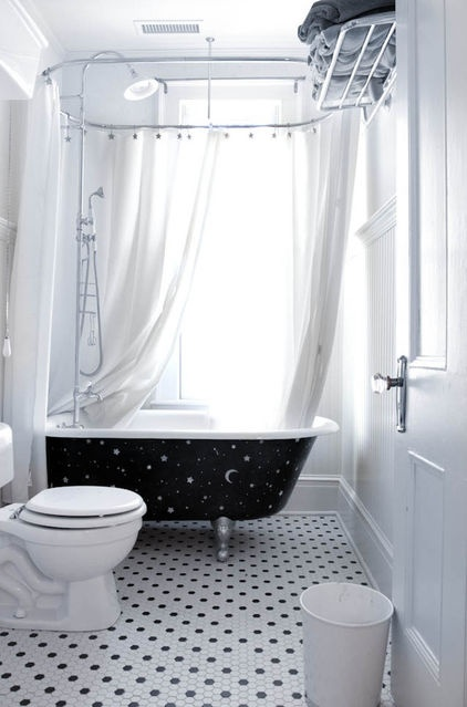 colorful bathtub ideas for a trendy bathroom ideas with white wall glass window white curtain black bath closet white door shower ceramic floor