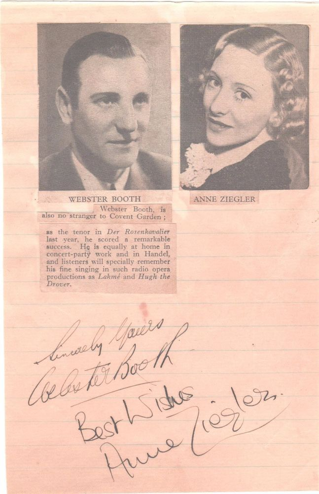 VINTAGE AUTOGRAPH WEBSTER BOOTH ANNE ZIEGLER SINGERS RADIO HAND SIGNED IN INK  1939