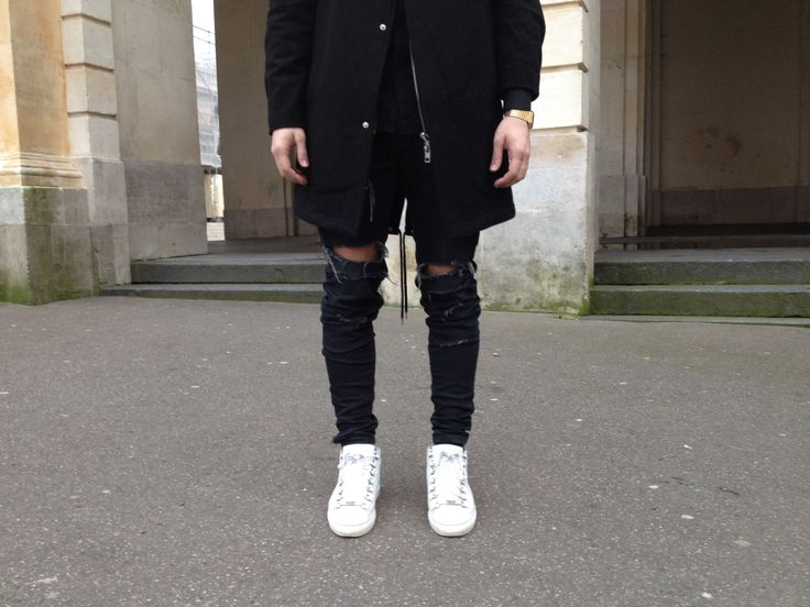 princeinjeans:  Ripped Denim by LANOIR available Outfit : - White Balenciaga Arena - Pants by Lanoir - Oak Jacket - Nicolas Lauer