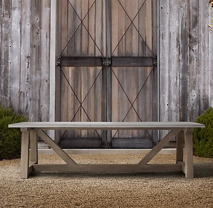 French beam weathered concrete teak dining restoration for Restoration hardware outdoor dining