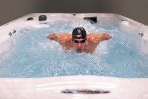 Micheal Phelps In The MP Signature Swim Spa featuring Swim Spa - Force Deep Model. SoftTread™ Nonslip, Comfort Floor System by SwimDek/SeaDek
