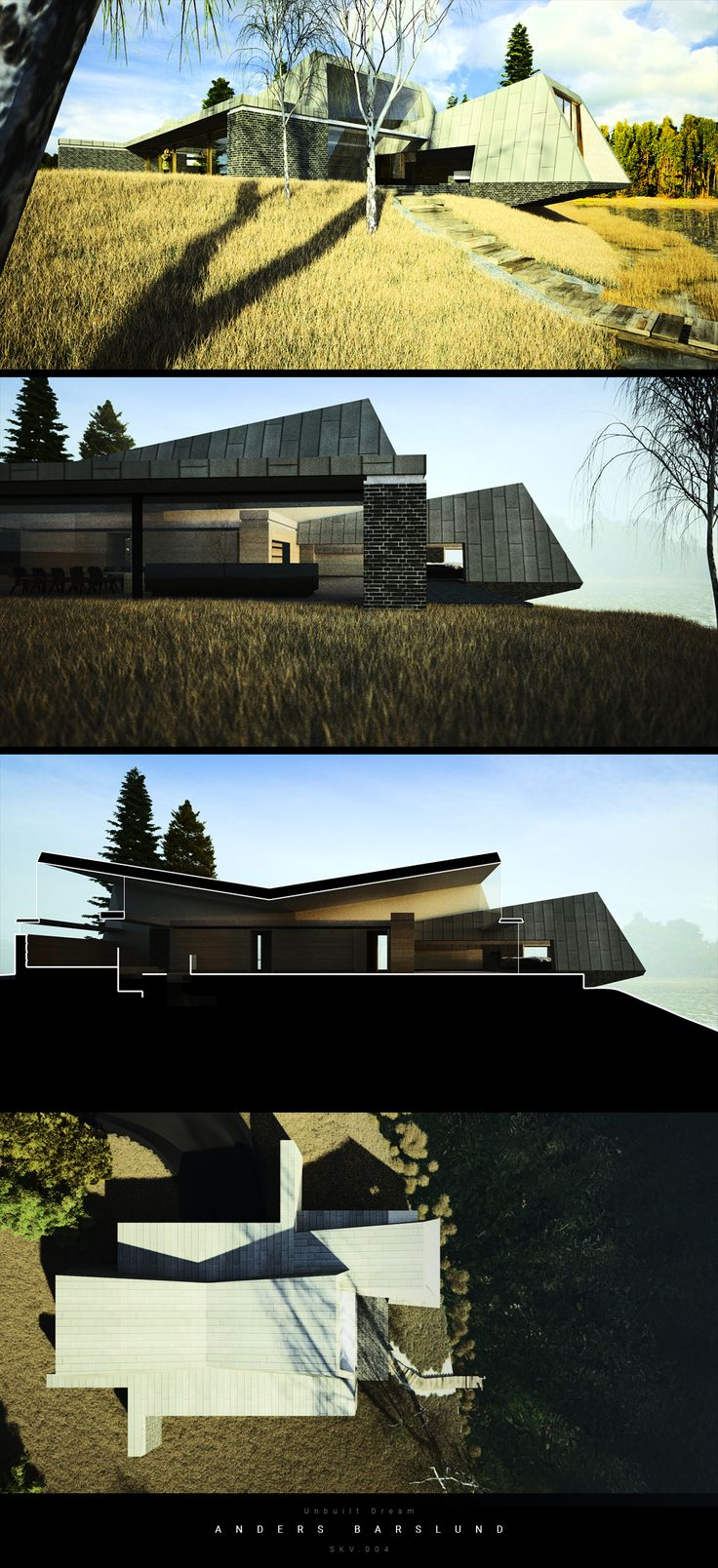 Unbuilt Dream - SKV Villa on slope, hanging over a small lake. Preproject for actual build.
