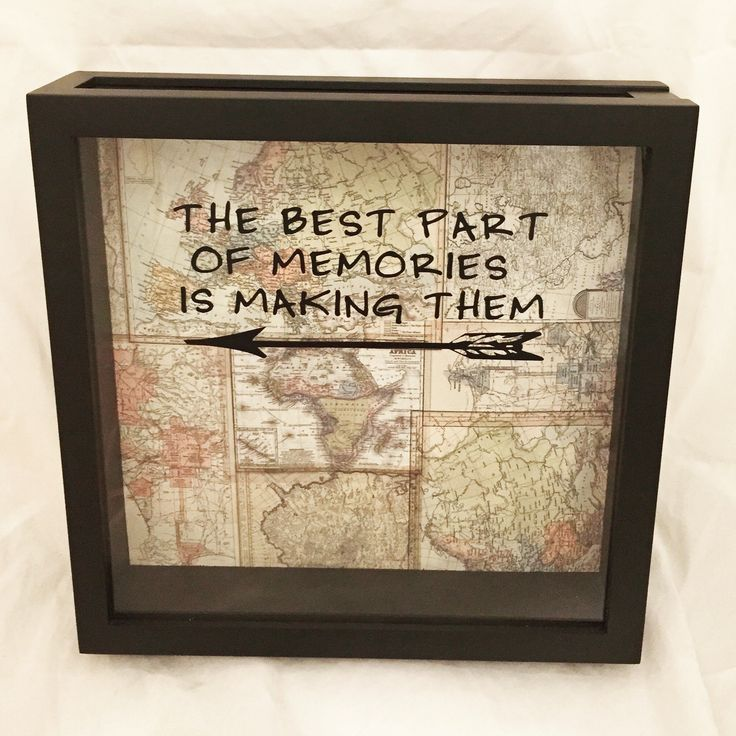 "World Traveler Ticket Stub or Souvenir Holder Shadow Box 12x12 (""The Best Part of Memories is Making Them"" on Vintage Map Background)"