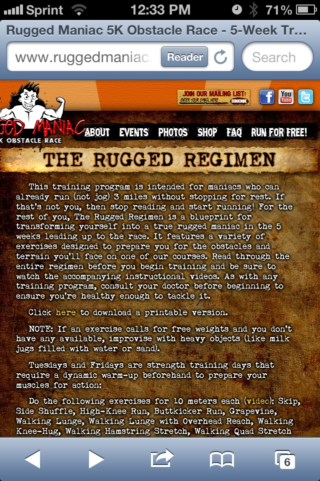 Rugged Regimen Is A Workout To Prepare For Rugged Maniac 5K Obstacle Mud  Run! How