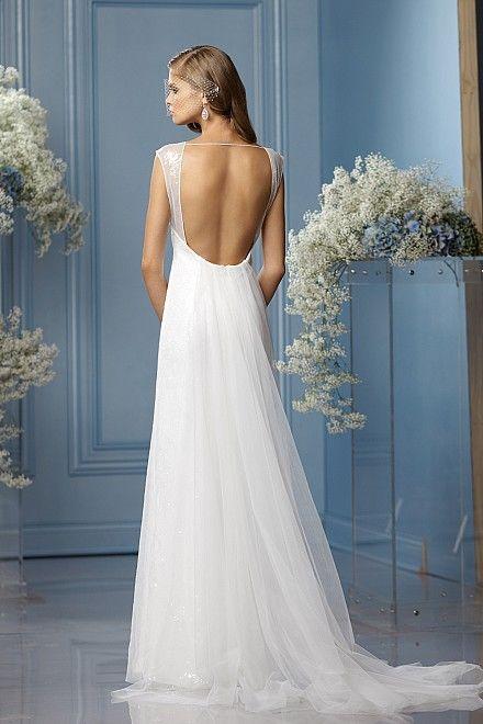 Deep scoop back neckline wedding gown by low for Deep back wedding dress