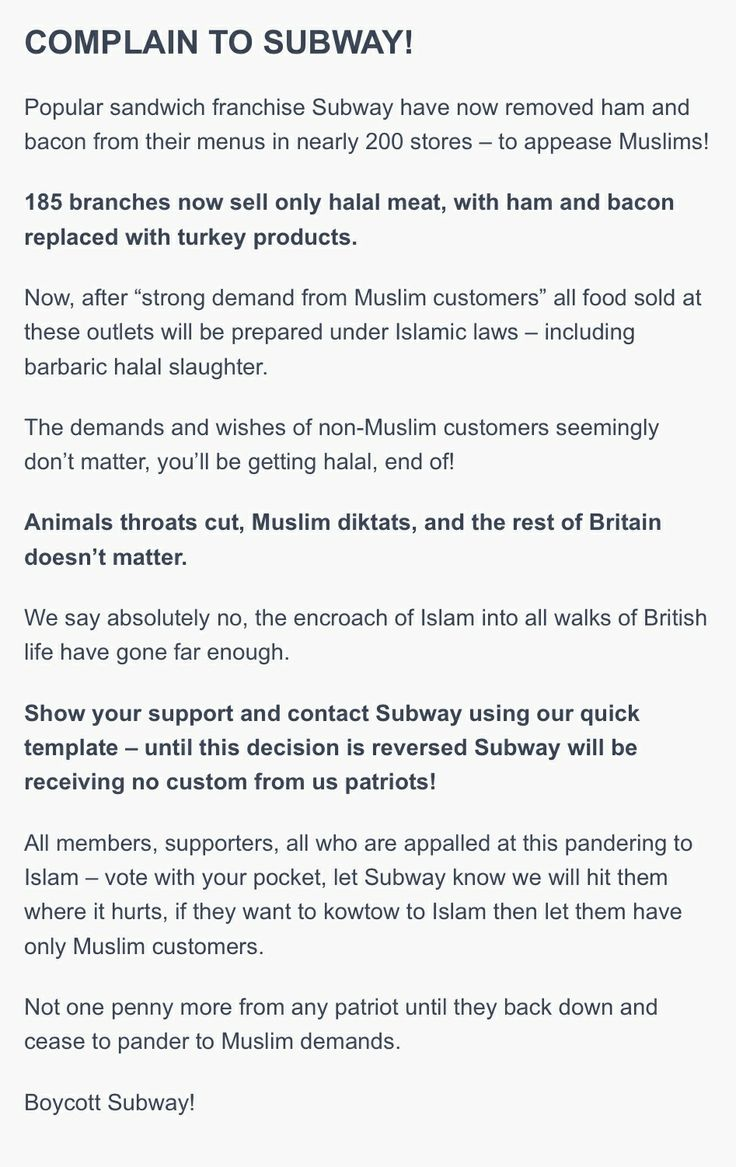Sign the petition and boycott Subway http://www.britainfirst.org/boycott-subway/