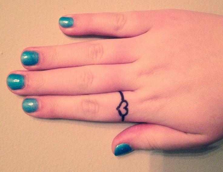 Cute little tattoo heart ring. | Tattoos | Pinterest