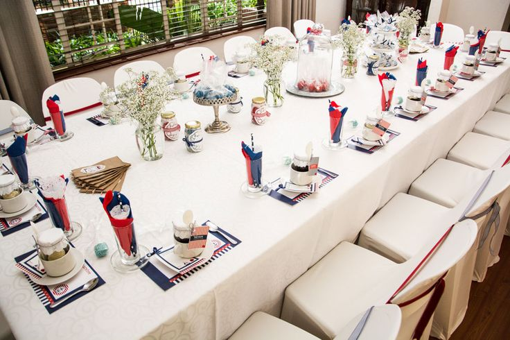 Red and Navy Sailor Themed Table Setting