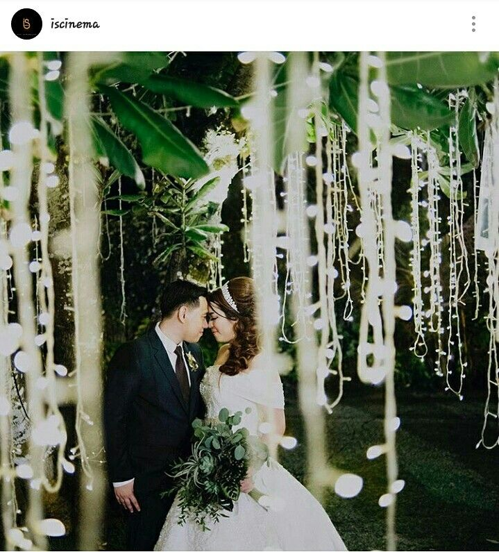 Greenery Wedding Theme & fairy light Succulent, Eucaliptus, Silver Dollar greenery arragement by Puri Amanda BONE night wedding Reception Picture by IS Cinema Bali wedding destination  Wedding gown by Ovan Putri