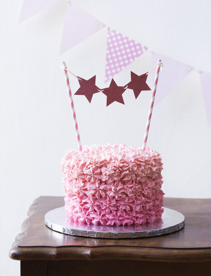Pink Ombre 15cm Cake with Buttercream Ombre.  Cake by Sweet Tooth CPT https://www.facebook.com/sweettoothcpt Cake Topper by Happy Time CPT https://www.facebook.com/happytimecpt Photo by Willem Lourens