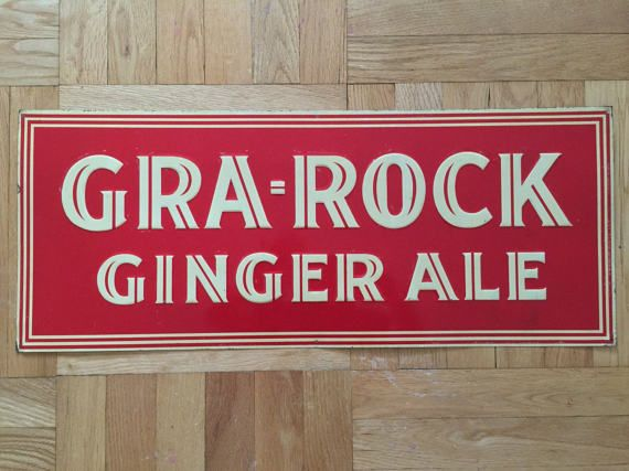 1920's-1930's Gra-Rock Ginger Ale Tin Sign Soda by Streetreasure