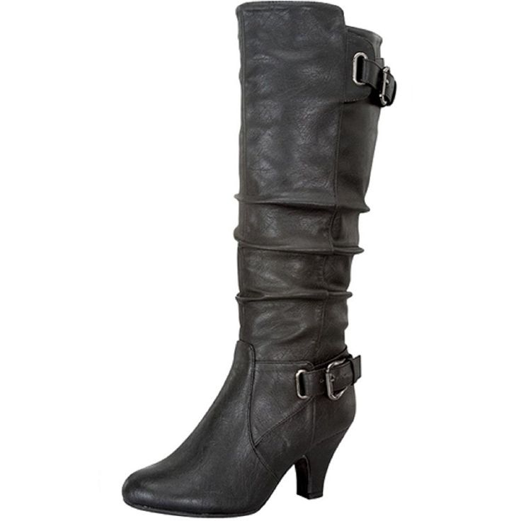 Top Moda Adjustable Calf Buckle Zipper Mid-calf Boots Bag-55 *** To view further for this item, visit the image link.