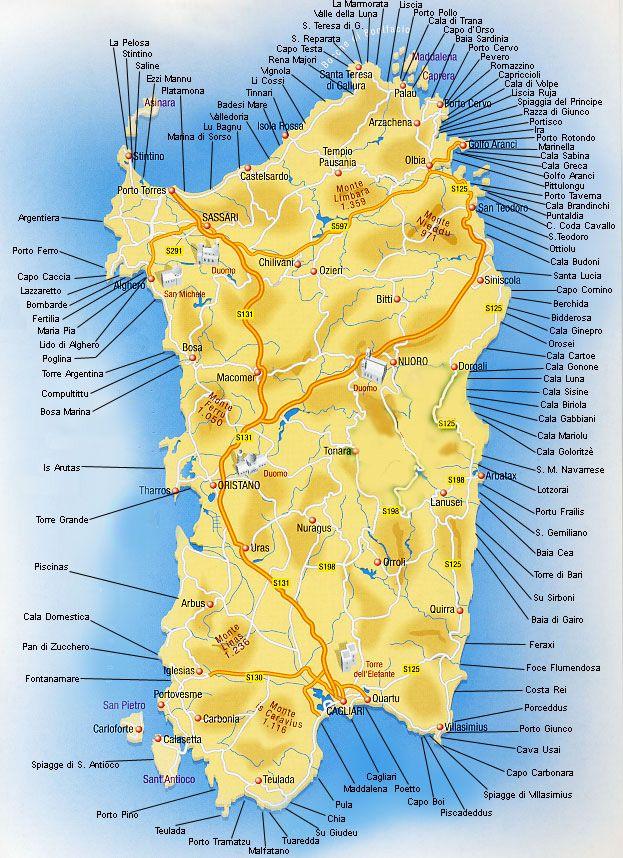 Mappa-spiagge-sardegna. (Qui solo le più conosciute) in questa mappa né mancano ancora tantissime, più di cento,alcune segrete altre no...ma wuel che è certo,è che sono tutte meravigliose !!!! Sardinia/Cerdeña.