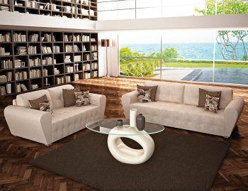 Διθέσιος-τριθέσιος καναπές STAR με καπιτονέ πλάτη και κάθισμα. Διάσταση 3θέσιου 220x90cm. Τιμή: 485€ Διάσταση 2θέσιου 160x90cm. Τιμή: 395€ Κατασκευάζεται στο ύφασμα της επιλογής σας και σε ειδικές διαστάσεις.  Τραπεζάκι σαλονιού SPACE με οβάλ τζάμι και πολυεστερική βάση. Διάσταση: 120x65cm. Διαθέσιμα χρώματα: Λευκό, εκρού, μαύρο.