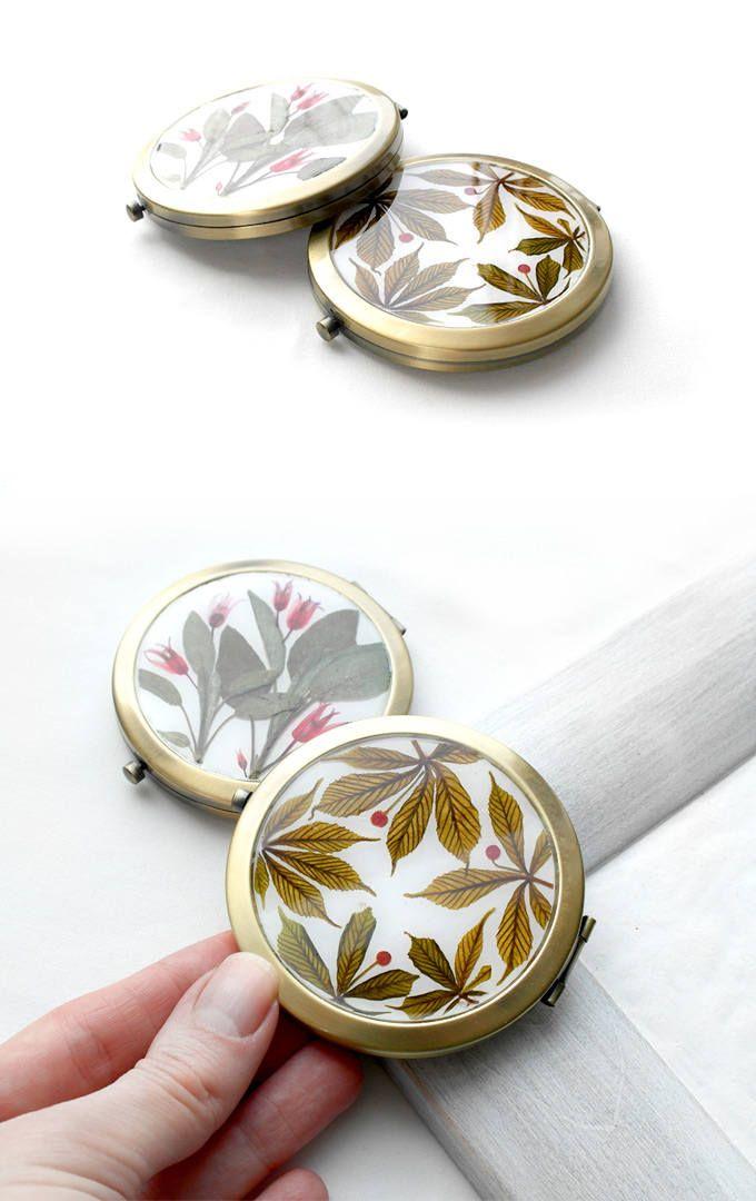 Leaf pocket mirror Compact mirror gift wedding autumn anniversary