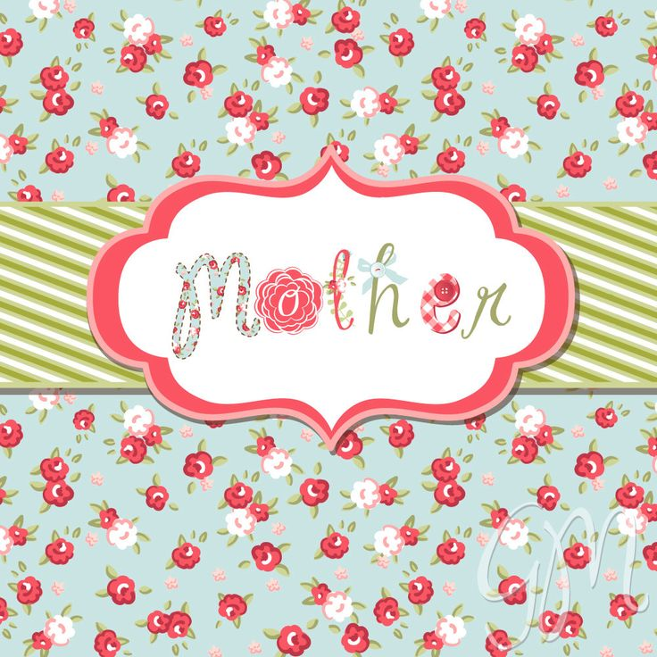 Hand Drawn Mother's Day card and Shabby Chic Digital paper. Digital Card. $1.99, via Etsy.