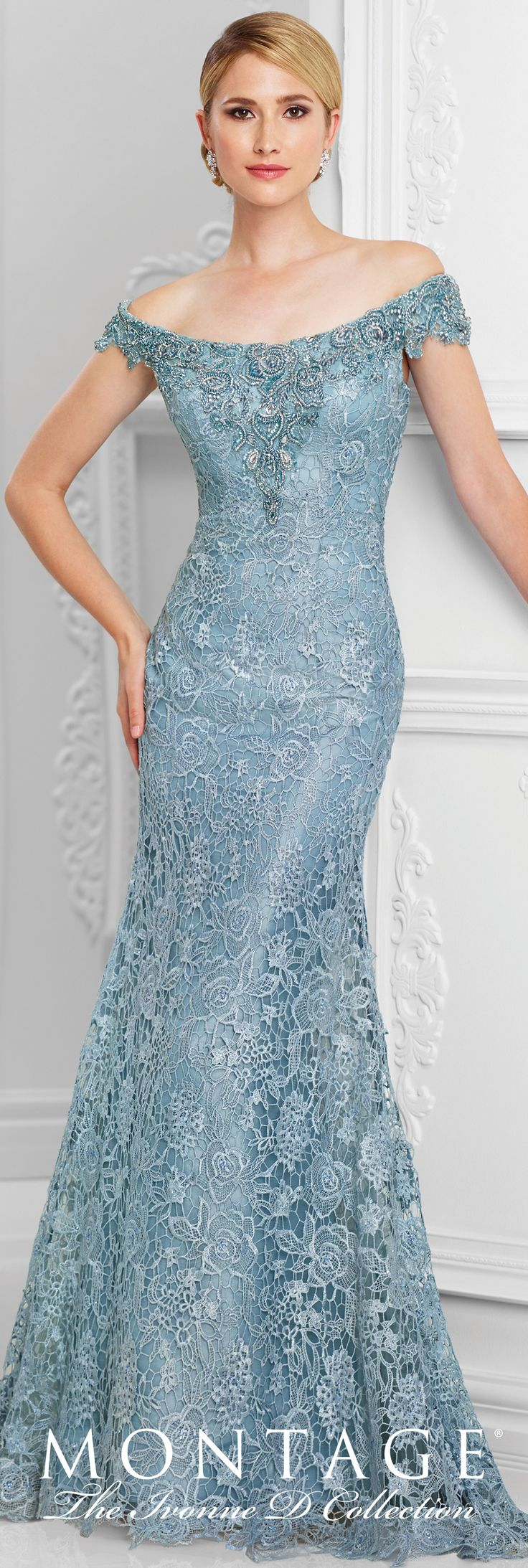 Formal Evening Gowns by Mon Cheri - Spring 2017 - Style No. 117D71 - wedgwood blue tulle and embroidered lace evening dress