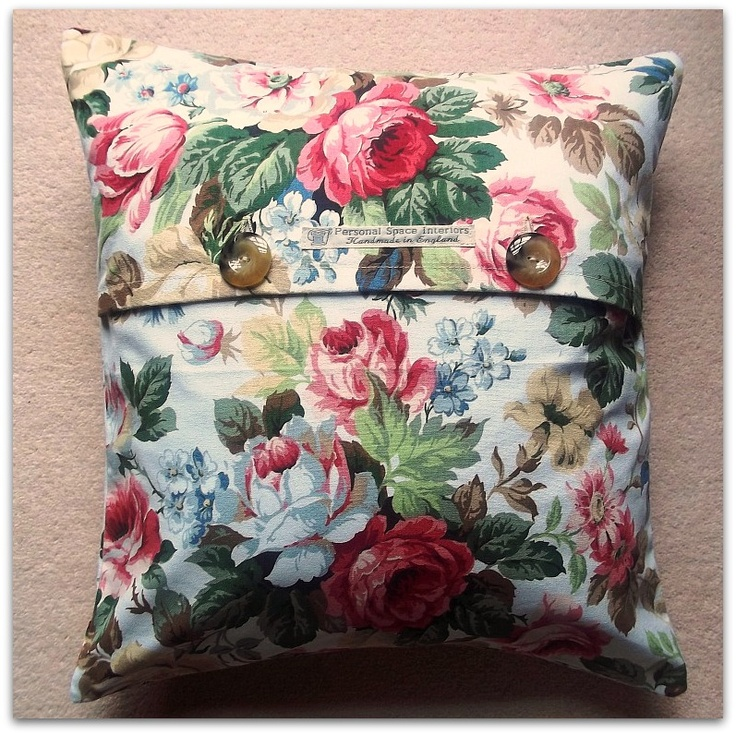 Last one ever! Cabbage Roses Vintage Style Cushion Cover with Button Fastening £9.95. Available now from Personal Space Interiors on Wow Thank You.