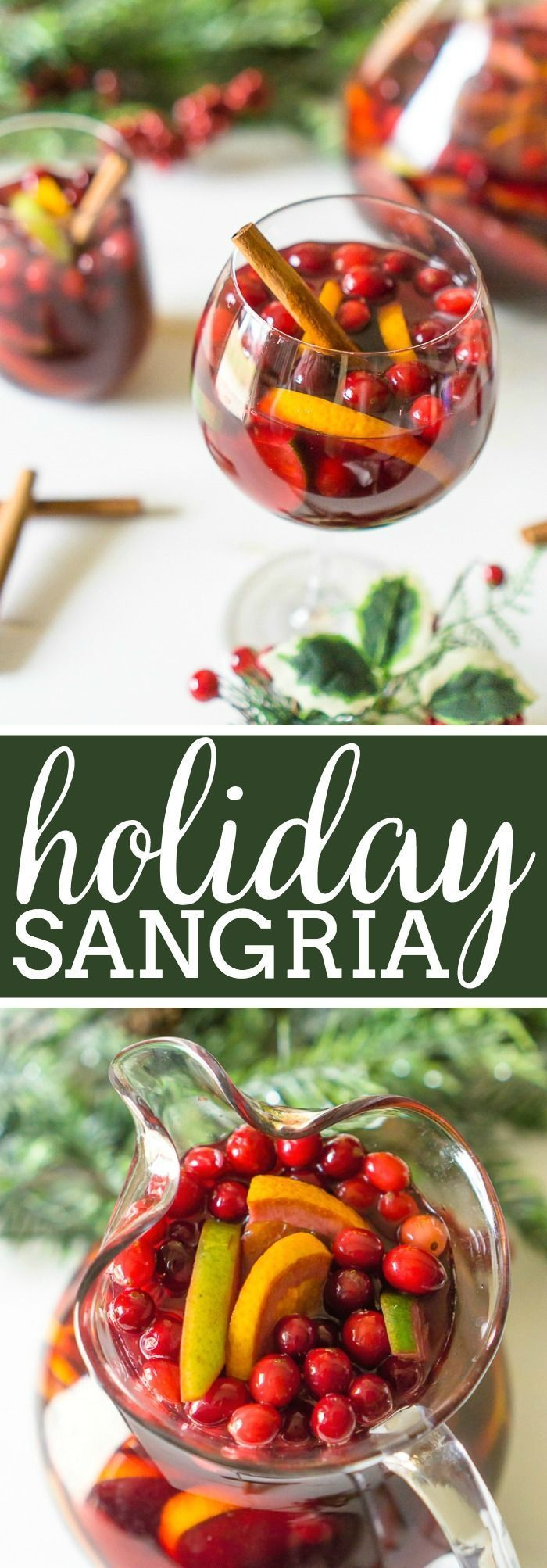 Don't forget to add a special holiday cocktail recipe to your Christmas menu this year, like this Citrus Cranberry Holiday Sangria! Filled with cranberries, citrus, pears, a subtle hint of cinnamon, and sweet red wine, you'll love every sip of this red sangria recipe!| The Love Nerds #winecocktail #christmascocktail #cranberrycocktail via @lovenerdmaggie