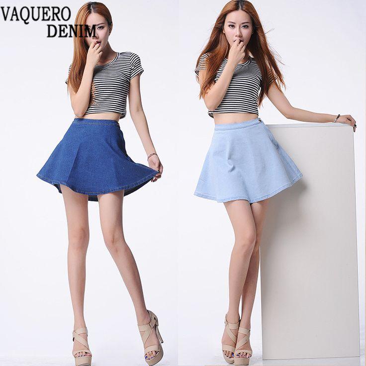 Skater Skirt Hot Sale 2016 Summer Style Denim High Waisted A-line Skirts Womens Micro Mini Solid Faldas Mujer Jupe  denim skirts