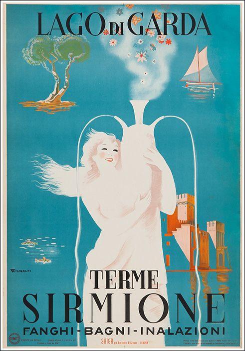 Vintage Travel Poster - Terme Sirmione - Lake Garda - Italy.