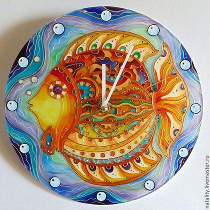 """Часы для дома ручной работы. Ярмарка Мастеров - ручная работа. Купить Часы """"Золотая рыбка"""". Handmade. Золотой, часы настенные"""