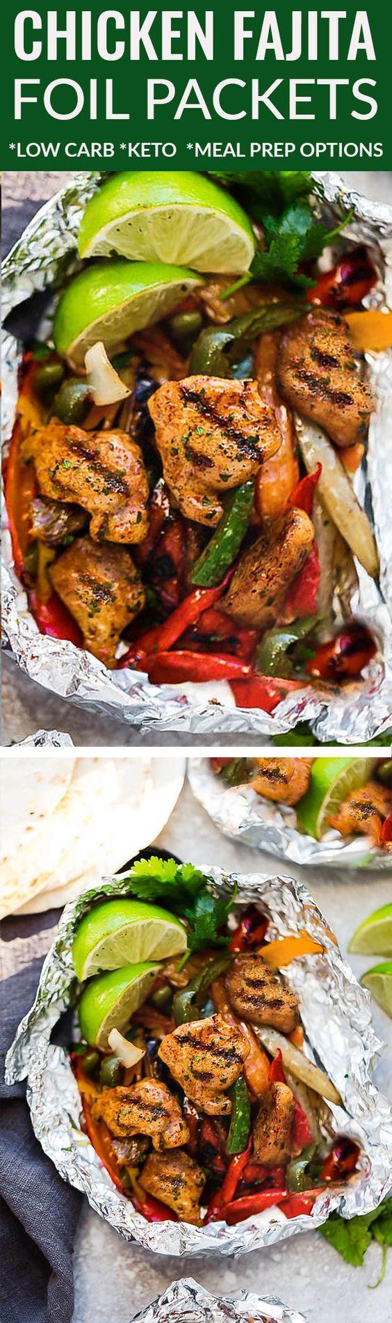 Gegrillte oder Ofen Chicken Fajita Foil Packets sind die perfekte einfache Mahlzeit für den Sommer …