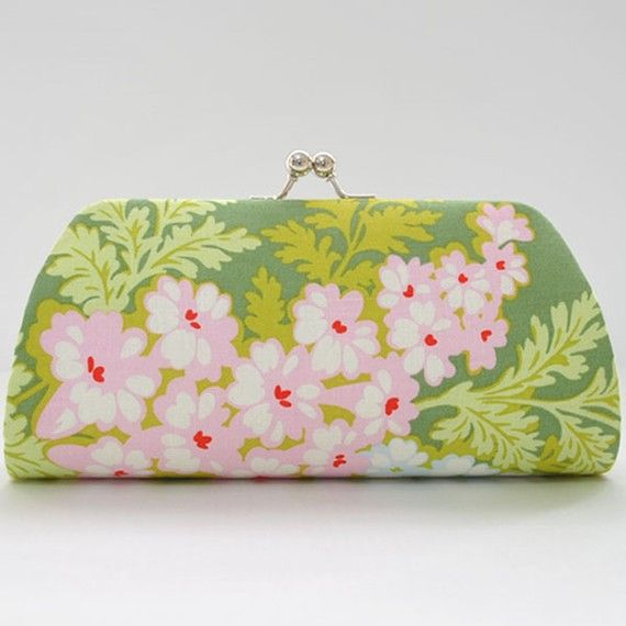 Picnic Bouquet in MossMedium Clutch Purse by PoppyPunch on Etsy, $17.00