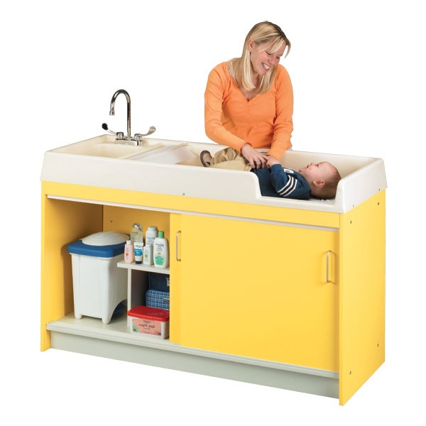 Infant changing table for nursery or child care center for Change furniture color