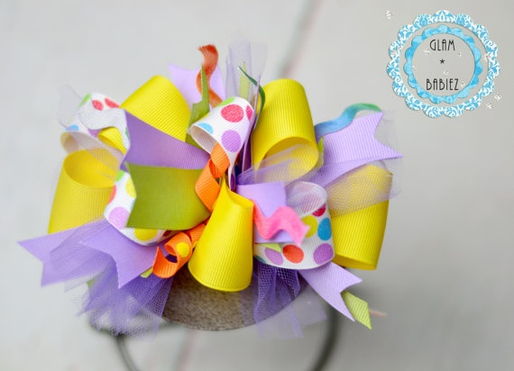 Spring Easter Boutique Hairbow Funky Loopy Bow by glambabiez, $10.00