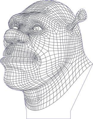 3D illusion shrek premium vector drawing