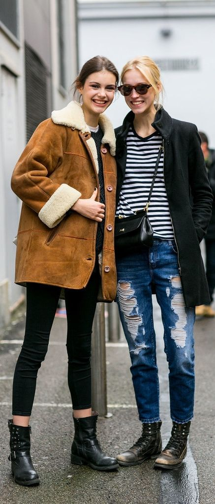 Chic model friends in suede, stripes, and shearling