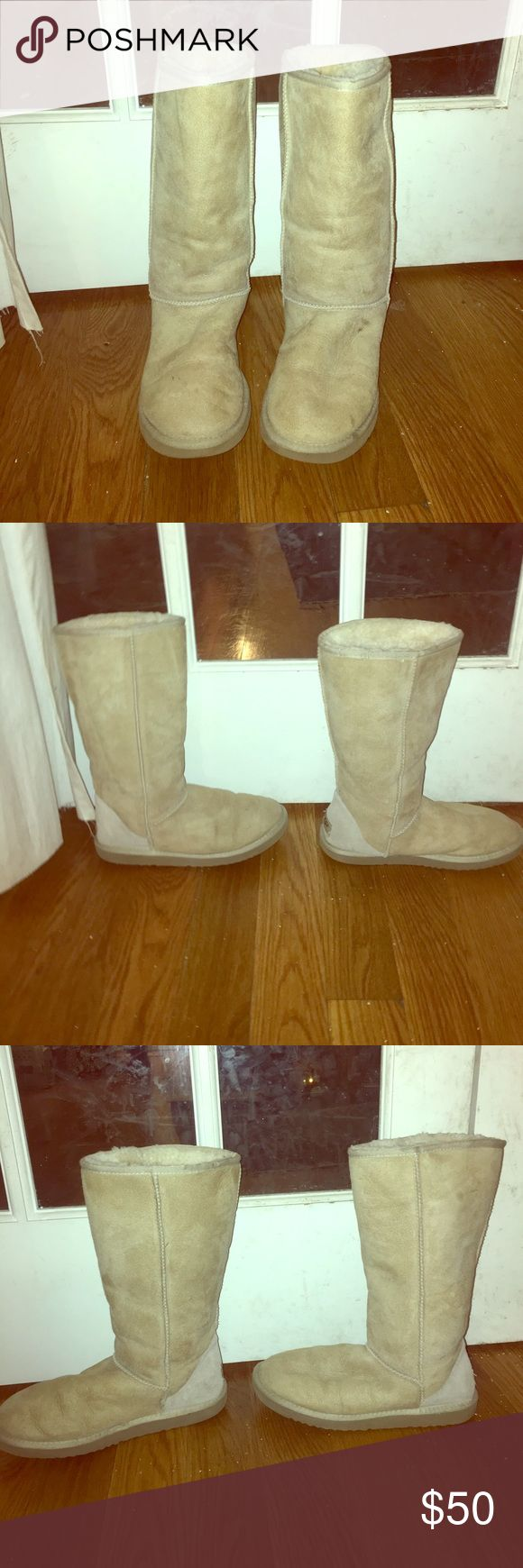 Tall Sand Uggs, Size 9 These are very lightly used tall sand women's Uggs, size 9! Very light wear. The sheepskin is in great condition, very soft and fluffy. These boots come to just below the knee and look practically new! UGG Shoes Winter & Rain Boots