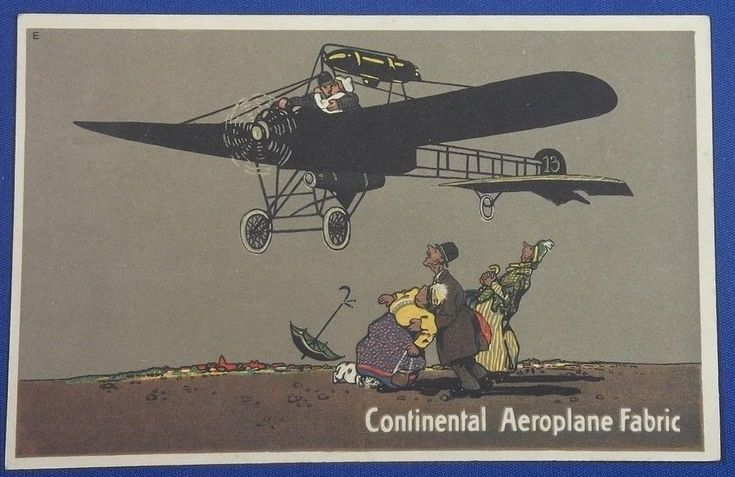 "1910's German Postcard Advertising Continental AG ""Continental Aeroplane Fabric"" ( English version postcard)  Continental aeroplanstoff with Stamp of Japanese agency company cartoon / vintage antique old art card / Japanese history historic paper material Japan germany airplane  aircraft"