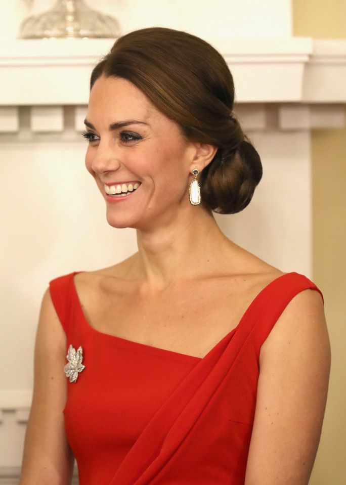 The sparkling maple leaf diamond brooch given to her by the Queen to wear for the visit