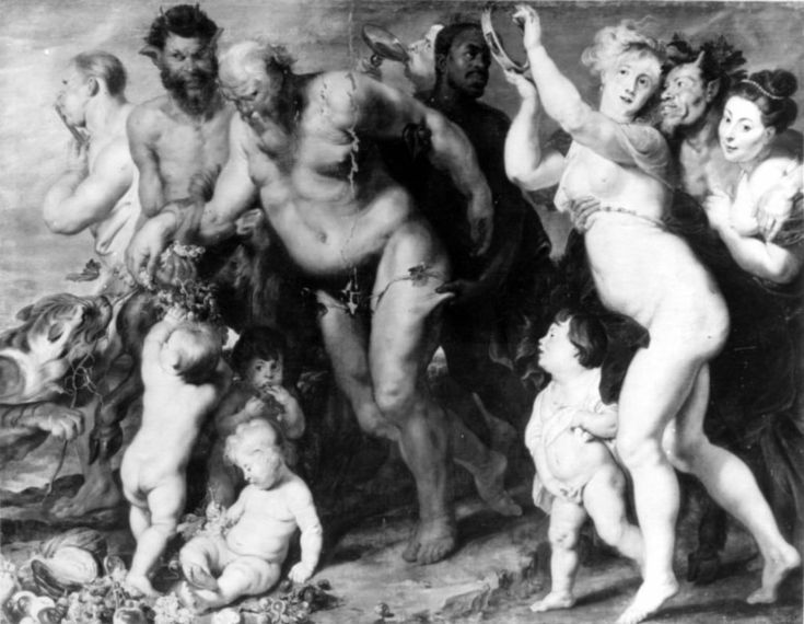 Part of the Art Collection of Prince Władysław IV Vasa (9 Jun 1595-20 May 1648) Poland. Painting of The March of The Silenus.by Sir Peter Paul Rubens c. 1619. Current location of painting are unknown. Owned by Gemäldegalerie in Berlin, lost 1945.