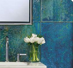 """Gorgeous tile.  """"Aura"""" by Ann Sacks.: Bathroom Design, Bathroom Interior, Glasses Tile, Gorgeous Bathroom, Modern Bathroom, Bathroom Idea, Master Bath, Anne Sack, Deep Blue Sea"""