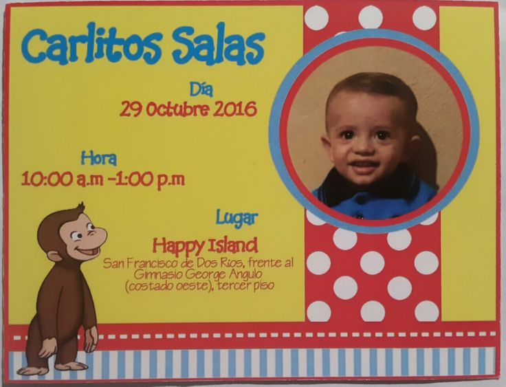 Curious George Invitation, Birthday party