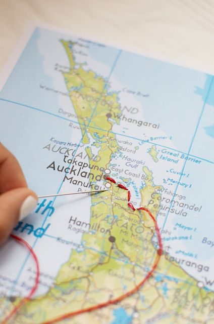 Embroider your trip onto a map