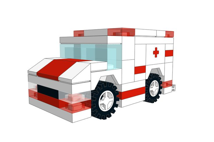 Mini LEGO Ambulance MOC. Download it for free on our website!