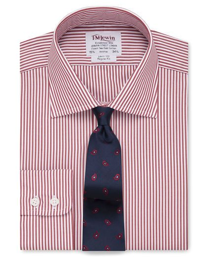 The traditional Jermyn Street shirt fit, our regular fit shirts are generously cut across the chest, body and arms with a longer tail that stays tucked in. Perfect if you like a loose-fit shirt with ample room for movement.