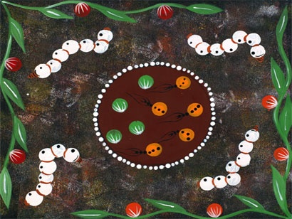Photo: 'Bush Tucker Dreaming' by Central Art Aboriginal Artist Rachel Nambula). 'If you take the time to learn what is behind the painting, you understand and appreciate the work so much more' Sabine Haider. All Australian Aboriginal art is educational by definition. As a purely oral tradition, Aboriginal history, geography, customs, law, religion, healing and food resources were painted, sung and danced in order to pass on this essential information to future generations.