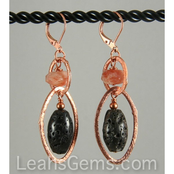 Be a little different with these lava, sunstone and copper earrings. Enjoy the contradiction of the sparkly sunstone and brushed copper with the earthy lava stone. $19.50