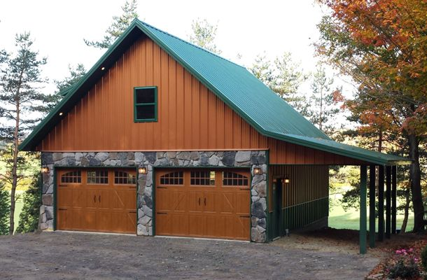 Real Metal Hobby Garage W/ Stone Wainscot (6 Pictures) | Metal Building  Homes. Garage Apartment ...