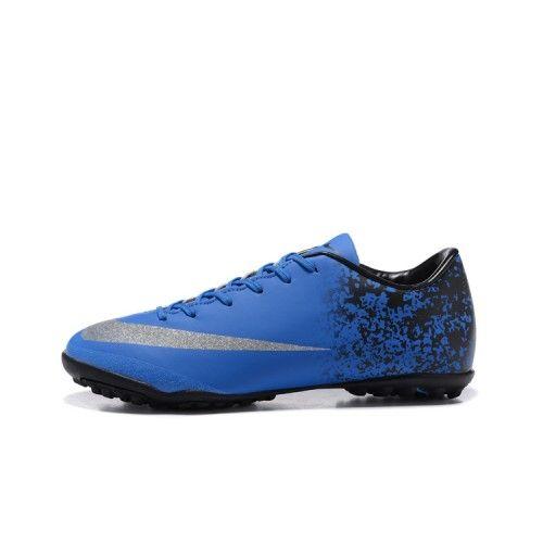 Billige Fodboldstøvler Tilbud - Bedst Nike Mercurial Victory V TF Fodboldstovler Bla Sort